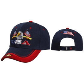 Baseball Caps Wholesale C5150 ~ U.S.A. with Eagle & Flags ~ Navy Blue