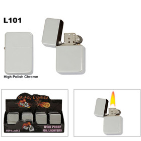 High Polish Chrome ~ Lighter Fluid NOT Included L101 (12 pcs.) Steel Lighters