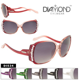 Rhinestone Sunglasses DI534 Vintage Frame Style! (Assorted Colors) (12 pcs.)