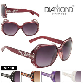 Sparkling Rhinestone Sunglasses DI518 Unique Hexagon Shape Frames! (Assorted Colors) (12 pcs.)