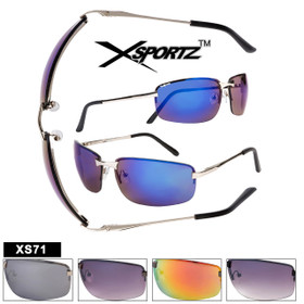 Wholesale Sport Sunglasses - Style XS71 Spring Hinges (Assorted Colors) (12 pcs.)