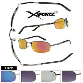 Wholesale Men's Sport Sunglasses by the Dozen - Style #  XS72 Spring Hinges! (Assorted Colors) (12 pcs.)
