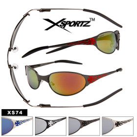 Xsportz Metal Sunglasses with Spring Hinges XS74 (Assorted Colors) (12 pcs.)
