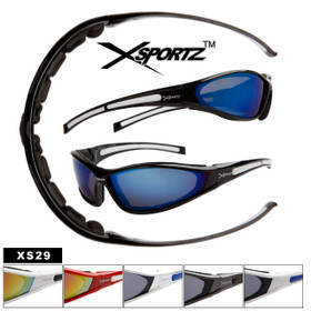 Xsportz™ Wholesale Sport Sunglasses by the Dozen - Style # XS29 Foam Padded Frames! (Assorted Colors) (12 pcs.)