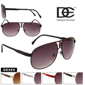 Wholesale Aviator Sunglasses DE™ -  Style # DE589 (Assorted Colors) (12 pcs.)
