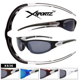 Xsportz™ Mens Sports Sunglasses by the Dozen - Style #XS36 (Assorted Colors) (12 pcs.)
