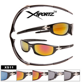 Xsportz™ Wholesale Men's Sport Sunglasses - Style # XS11 (Assorted Colors) (12 pcs.)