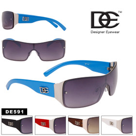 DE™ Designer Eyewear One Piece Lenses Wholesale Sunglasses - Style #DE591 (Assorted Colors) (12 pcs.)