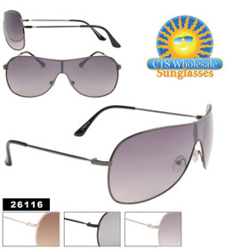 Single Lens Sunglasses Wholesale - Style #26116 (Assorted Colors)  (12 pcs.)