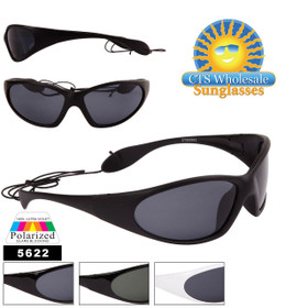 Polarized Sport Sunglasses with Neck Strap - Style # 5622 (Assorted Colors) (12 pcs.)
