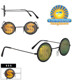 Dollar Sign ($) Hologram Sunglasses ~ Glass Lenses 111 (Assorted Colors) (12 pcs.)