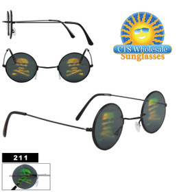 Skull & Cross Bones Hologram Sunglasses ~ Glass Lenses 211 (Assorted Colors) (12 pcs.)