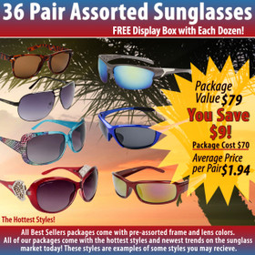 Package Deal 36 Pair Assorted Sunglasses SPA2 (36 pcs.)  (Assorted Colors)