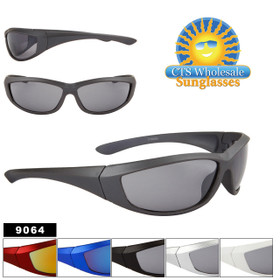 Wholesale Sports Sunglasses - Style #9064 (Assorted Colors) (12 pcs.)