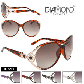 Ladies Sunglasses DI511 Rhinestone Fashion Sunglasses (Assorted Colors) (12 pcs.)
