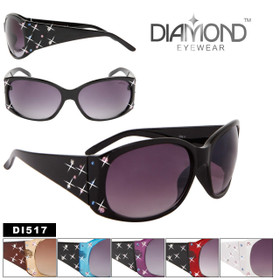 Rhinestone Fashion Sunglasses DI517 Diamond Eyewear (Assorted Colors) (12 pcs.)