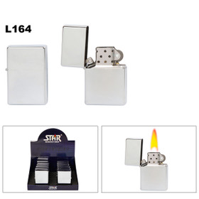 Jumbo Oil Lighters Chrome ~ Lighter Fluid NOT Included ~ Approx. 33% larger than standard oil lighter! L164 (12 pcs.)