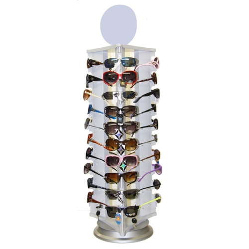 Locking Sunglass Display | Rotating Counter Top Model 7044 | Holds 30 Pair All White