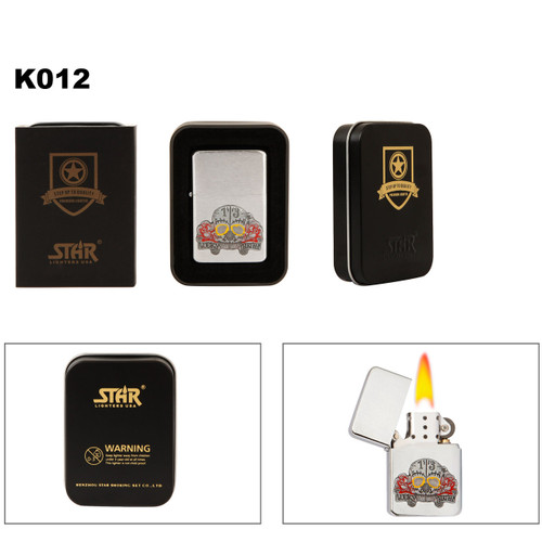 "Brass Wholesale Lighter ~ Lighter Fluid NOT Included K012 (1 pc.) ""Lucky Thirteen"" with Roses & Skull"