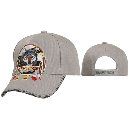 Wholesale Baseball Hats ~ Dreamcatcher with Wolf ~ Grey