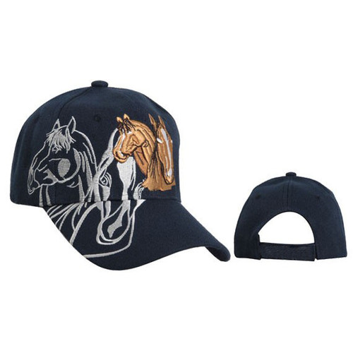 Wholesale Baseball Hat with Horses Navy Blue