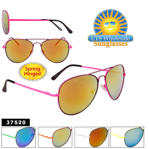 Wholesale Aviators - Style #37520 Spring Hinge - Real Revo Lens!