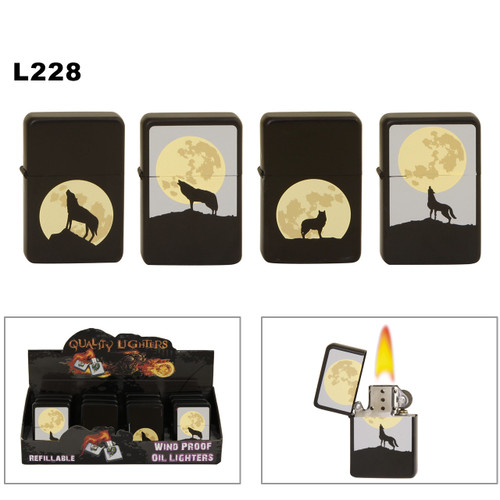 Wholesale  Oil Lighters ~ Lighter Fluid NOT Included L228 (12 pcs.) Lone Wolf & Full Moon