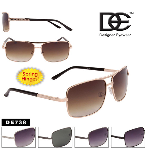 Men's DE™ Square Aviator Sunglasses - Style #DE738 Spring Hinge
