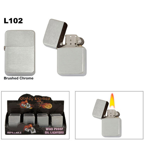 Brushed Chrome Oil Lighters L102