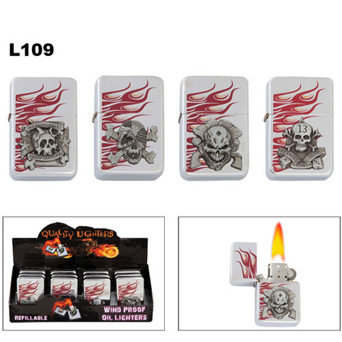Oil Lighters with flames and assorted skull emblems L109