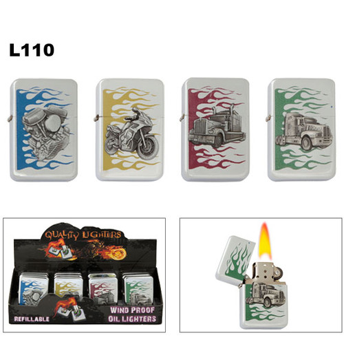 Wholesale Oil Lighters | Flames | Assorted Emblems