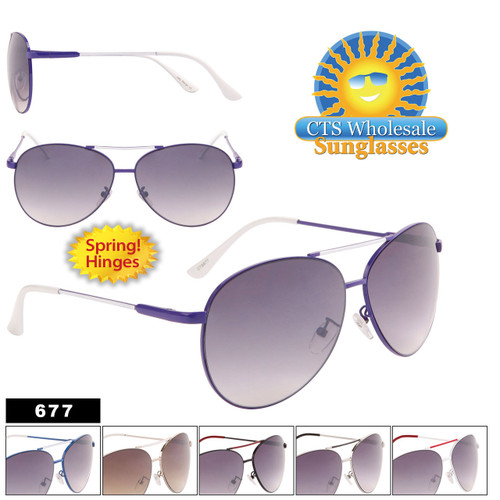 Metal Aviator Sunglasses Wholesale - Style #677 Spring Hinge