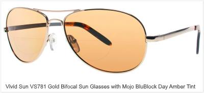 Vivid Sunglass 781 Gold with Mojo BluBlock Day Amber Tint.