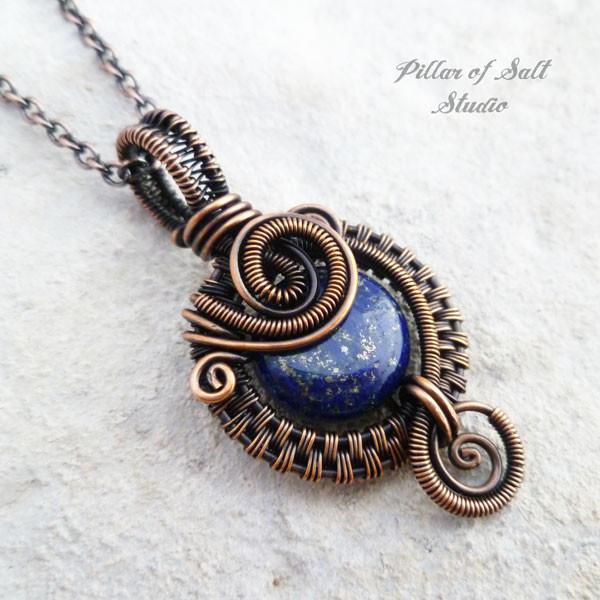 Small blue lapis lazuli copper woven wire wrapped pendant necklace lapis lazuli copper wire wrapped pendant necklace jewelry by pillar of salt studio aloadofball Gallery