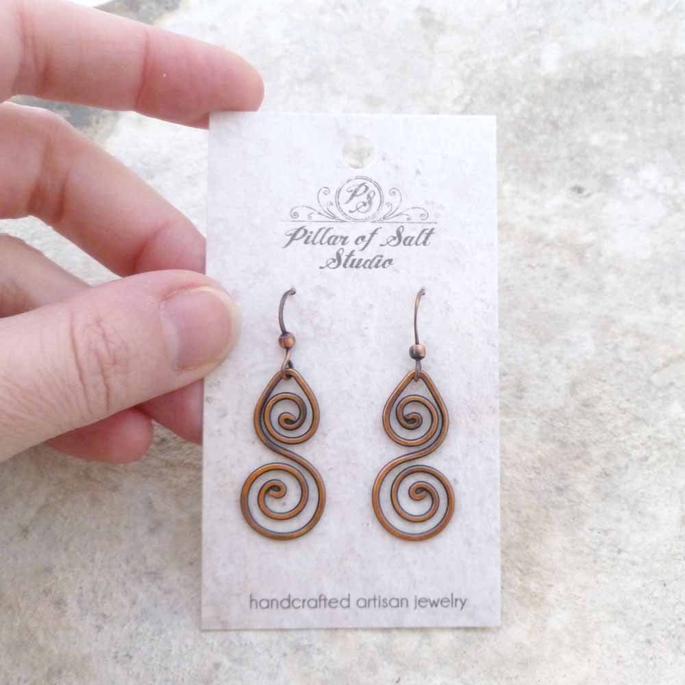Double spiral copper wire earrings - Pillar of Salt Studio, Inc.