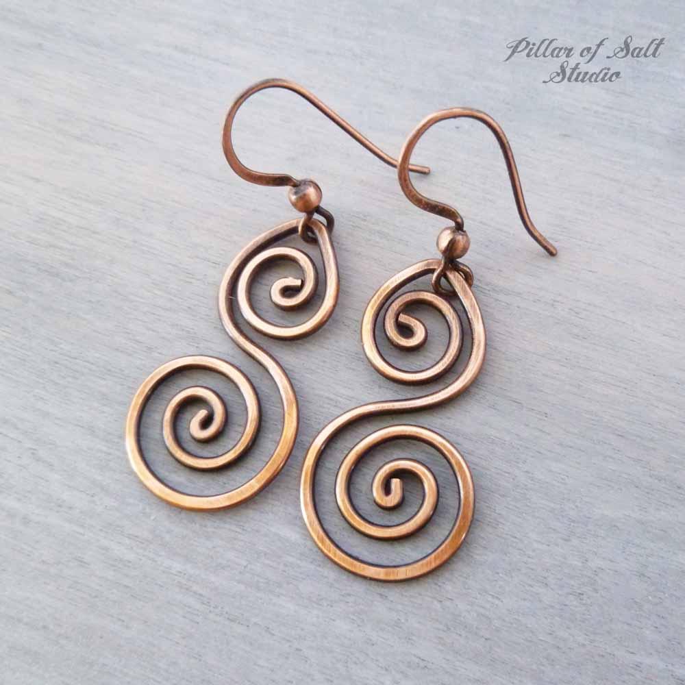 solid copper wire wrapped earrings handmade jewelry by Pillar of Salt Studio