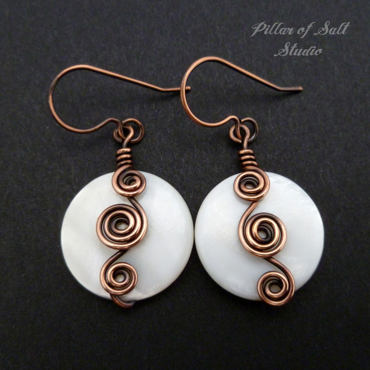 White mother of pearl Curlicue Wire wrapped copper earrings - Pillar ...
