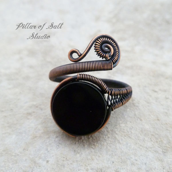 black onyx adjustable copper wire wrapped ring by Pillar of Salt Studio