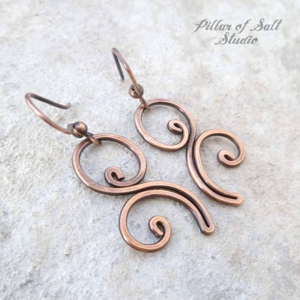 Flourish copper wire earrings - Pillar of Salt Studio, Inc.