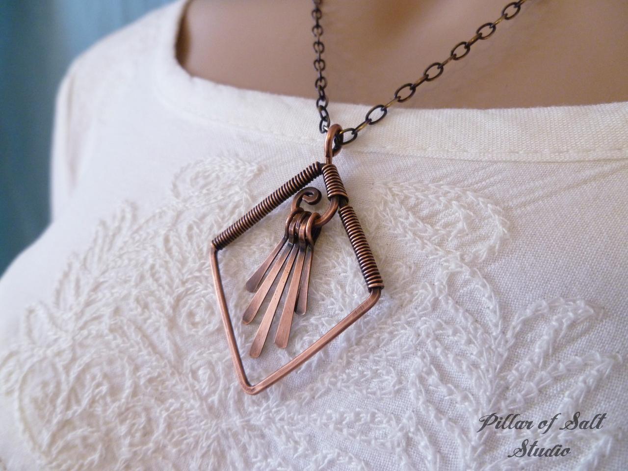 Diamond shape fringe copper wire wrapped Necklace - Pillar of Salt ...