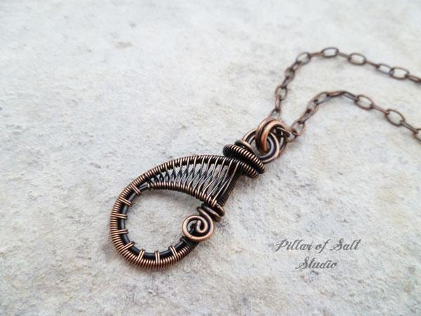 Dainty woven wire teardrop copper wire wrapped pendant necklace copper wire wrapped teardrop pendant aloadofball Gallery