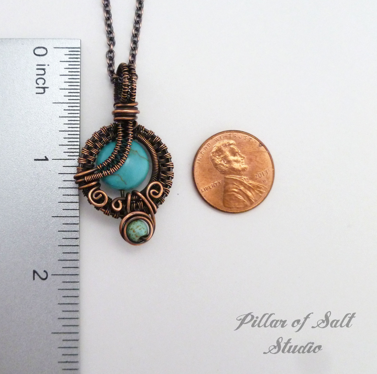 wire wrapped pendant copper necklace by Pillar of Salt Studio