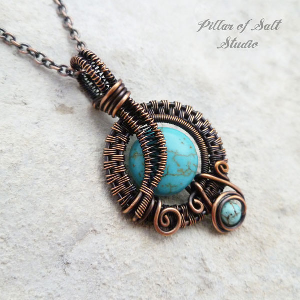 Small turquoise magnesite copper woven wire wrapped pendant necklace aloadofball Gallery