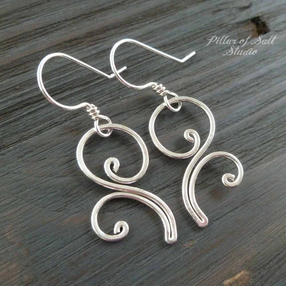 Flourish dangle Sterling Silver wire earrings - Pillar of Salt ...