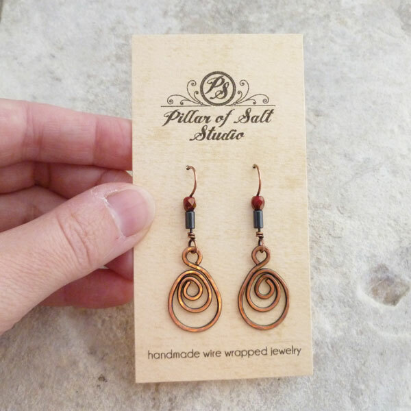 Solid copper woven wire teardrop earrings / earthy jewelry by Pillar ...