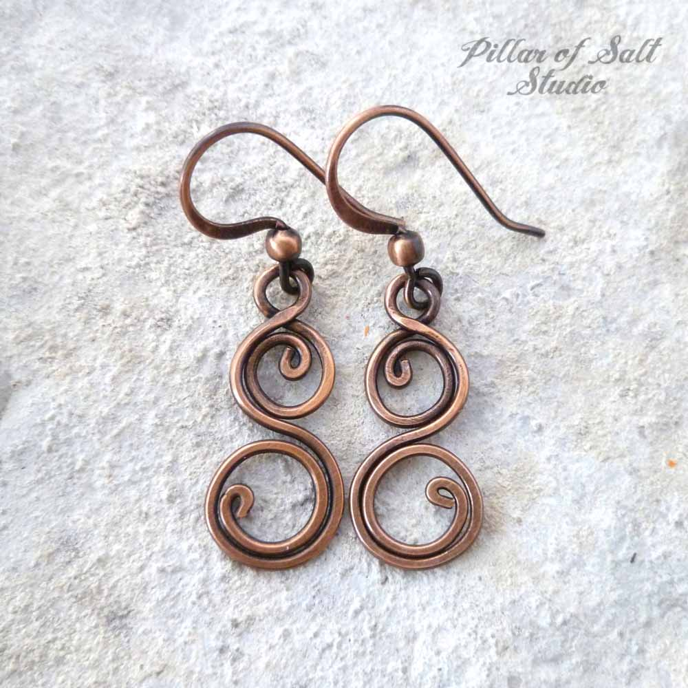 Small Double Spiral solid copper earrings - Pillar of Salt Studio, Inc.
