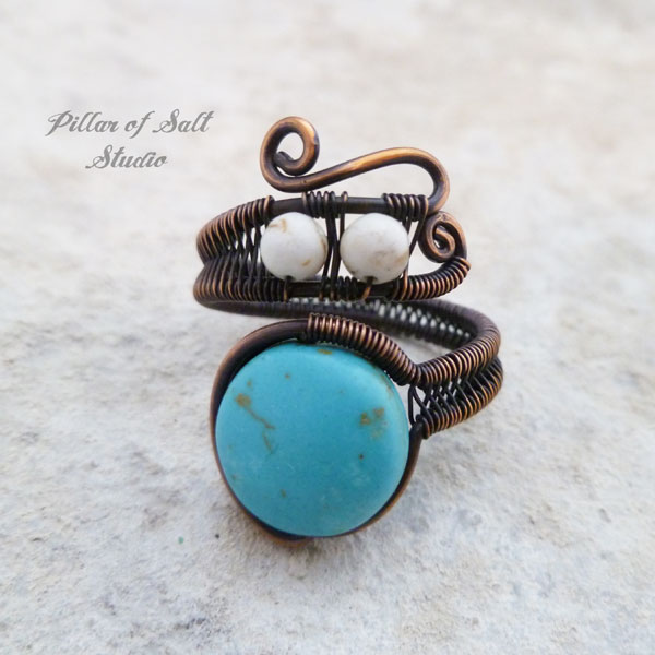Turquoise & White Magnesite adjustable wire wrapped ring - Pillar of ...