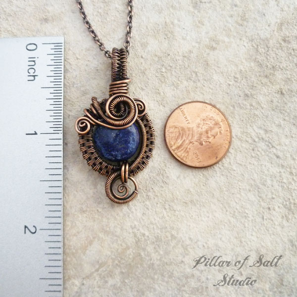 wrapped pendant pillar copper blue studio by of jewelry necklace lazuli wire lapis small salt woven
