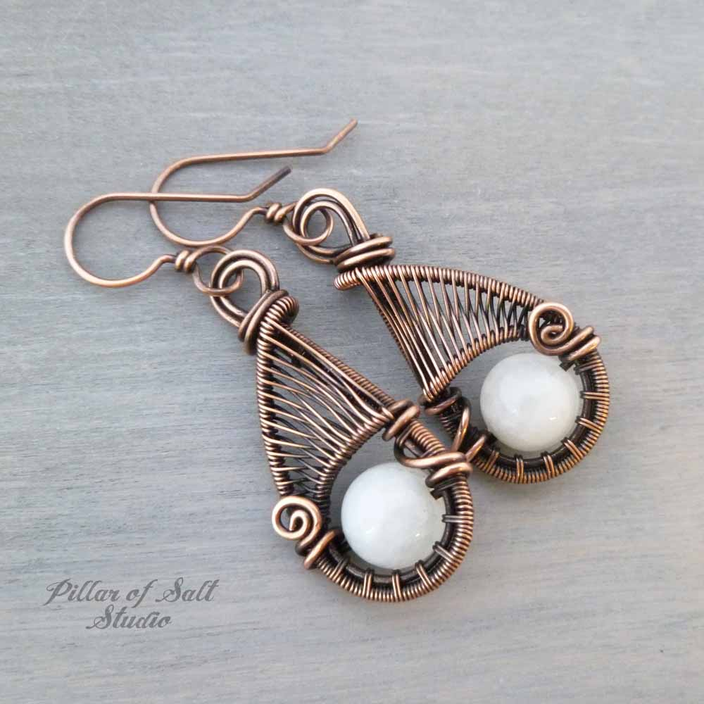 White Quartz and copper woven wire wrapped earrings - Pillar of Salt ...