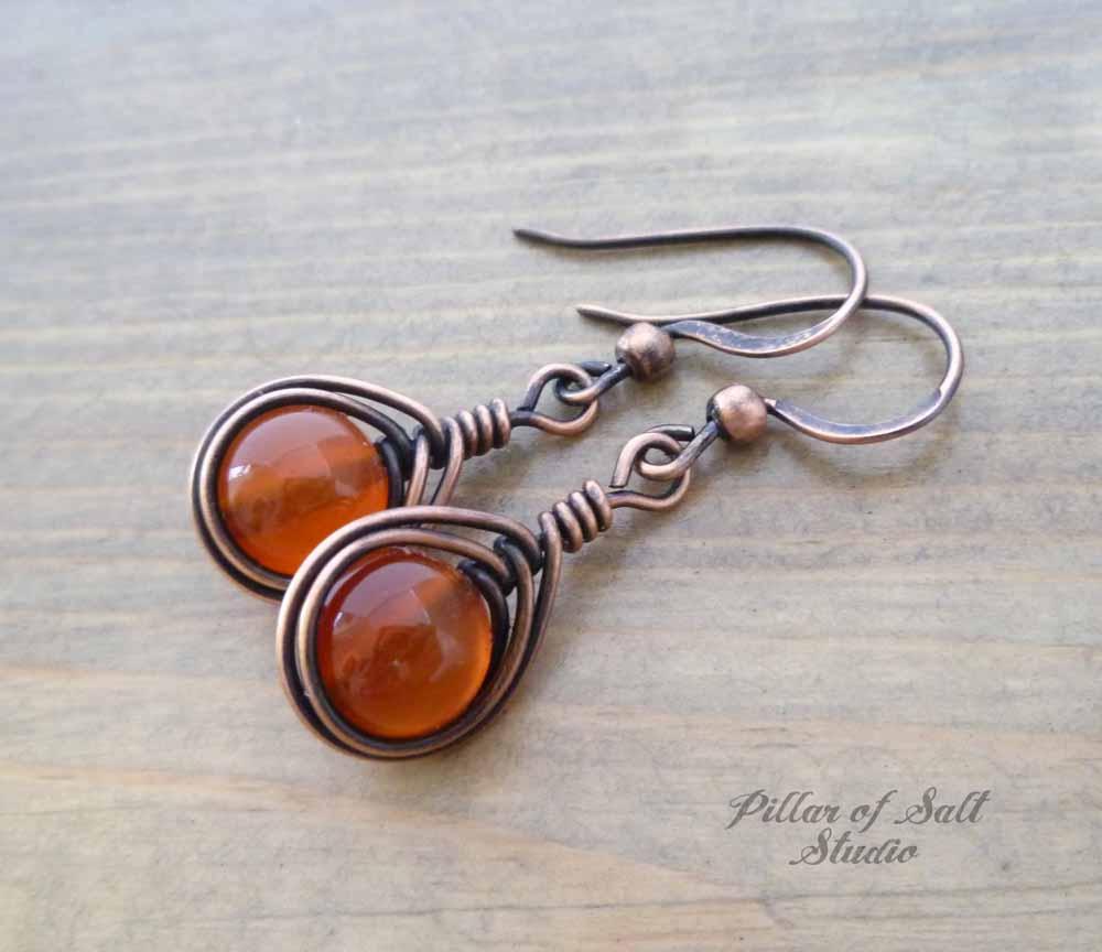 Copper Wire wrapped earrings with Red Carnelian stones / herringbone ...